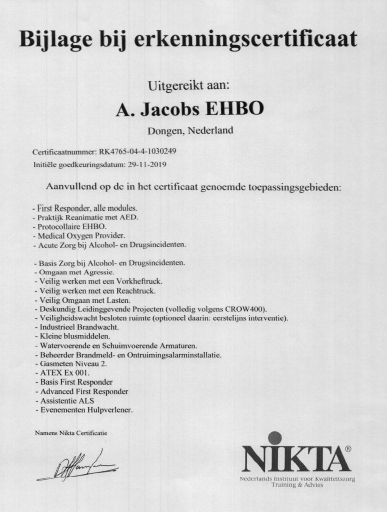 Nikta Certificaat Bijlage
